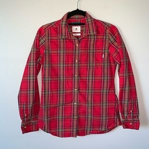Burton red plaid long sleeve button down shirt